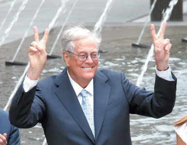 David H. Koch attending the opening of the plaza named for him at the Metropolitan Museum of Art, New York City, September 2014