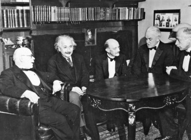 Max Planck, center, with Walther Nernst, Albert Einstein, Robert Andrews Millikan, and Max Laue, all physicists and winners of the Nobel Prize, Berlin, 1928