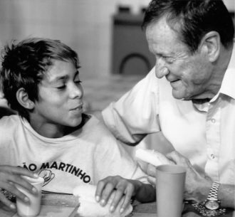 UNICEF's executive director Jim Grant at the São Martinho children's shelter, Rio de Janeiro, Brazil, 1992