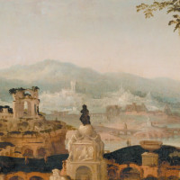 'Landscape with Roman Ruins'; detail of a painting by Herman Posthumus, 1536