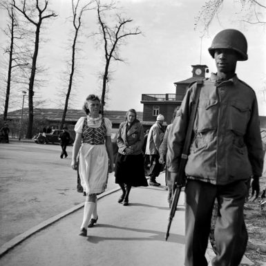 German civilians on an enforced visit to Buchenwald concentration camp, April 1945; photograph by Lee Miller from the exhibition 'Lee Miller: A Woman's War,' on view at the Imperial War Museum, London, October 15, 2015–April 24, 2016. The catalog—by Hilary Roberts, with an introduction by Antony Penrose—will be published in the US by Thames and Hudson in December.