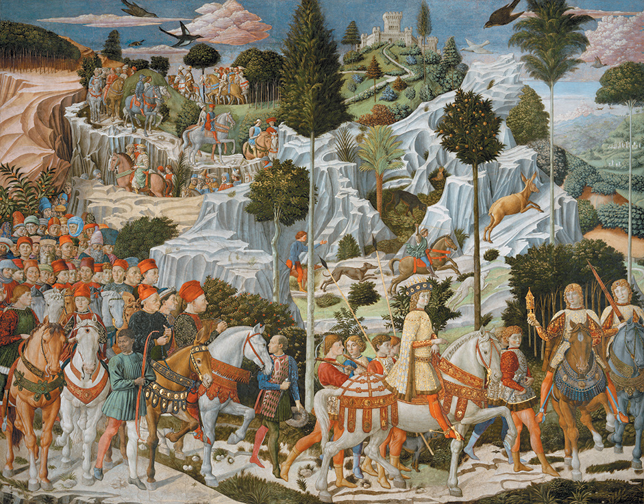 Benozzo Gozzoli: The Journey of the Magi to Bethlehem; detail of the fresco on the east wall of the chapel of the Palazzo Medici Riccardi, Florence, circa 1460