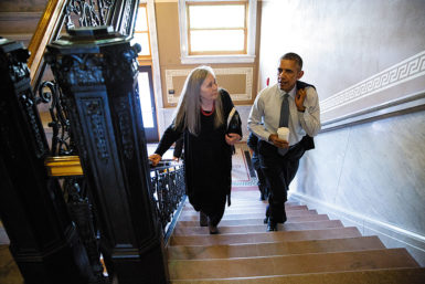 President Obama and Marilynne Robinson at the Iowa State Library, Des Moines, September 2015
