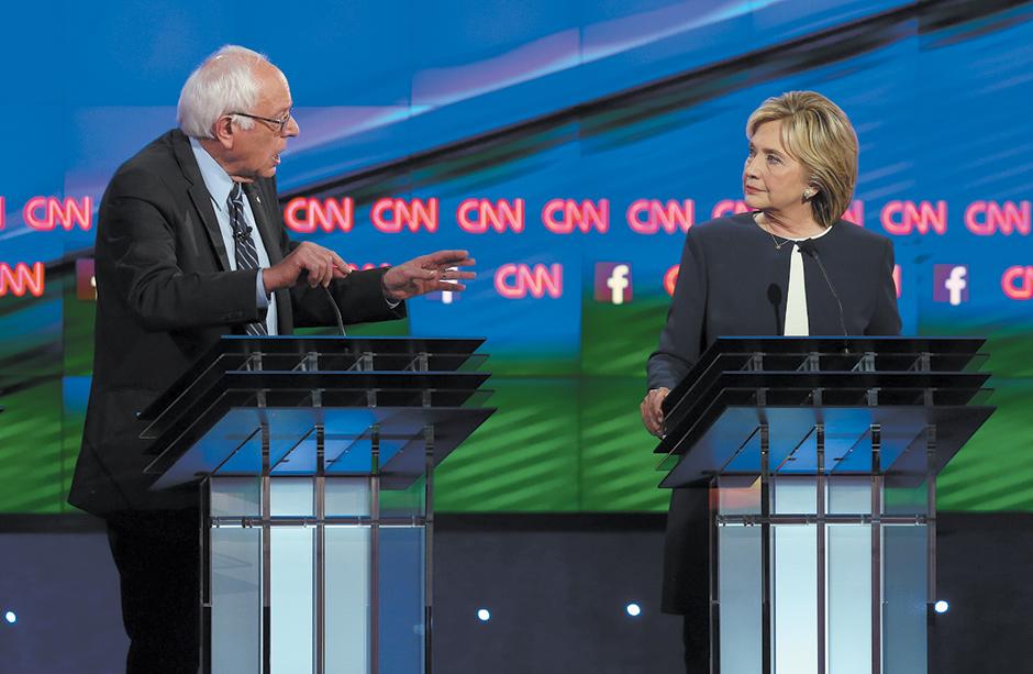 Bernie Sanders and Hillary Clinton at the Democratic presidential debate, Las Vegas, October 2015