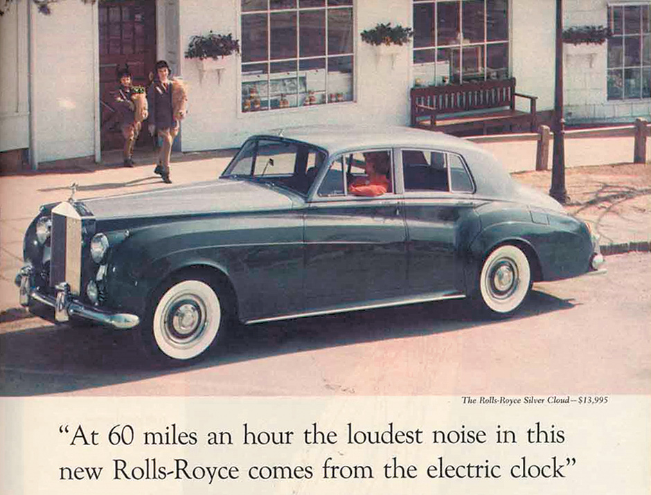 An advertisement for Rolls-Royce from the late 1950s