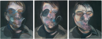 Francis Bacon: Three Studies for Self-Portrait, 1976; oil on canvas, in three parts, each 14 x 12 inches