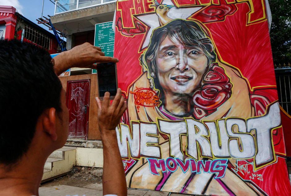 An illustration of Aung San Suu Kyi, chair of the National League for Democracy (NLD), at the NLD party headquarters in Rangoon, Burma, November 13, 2015