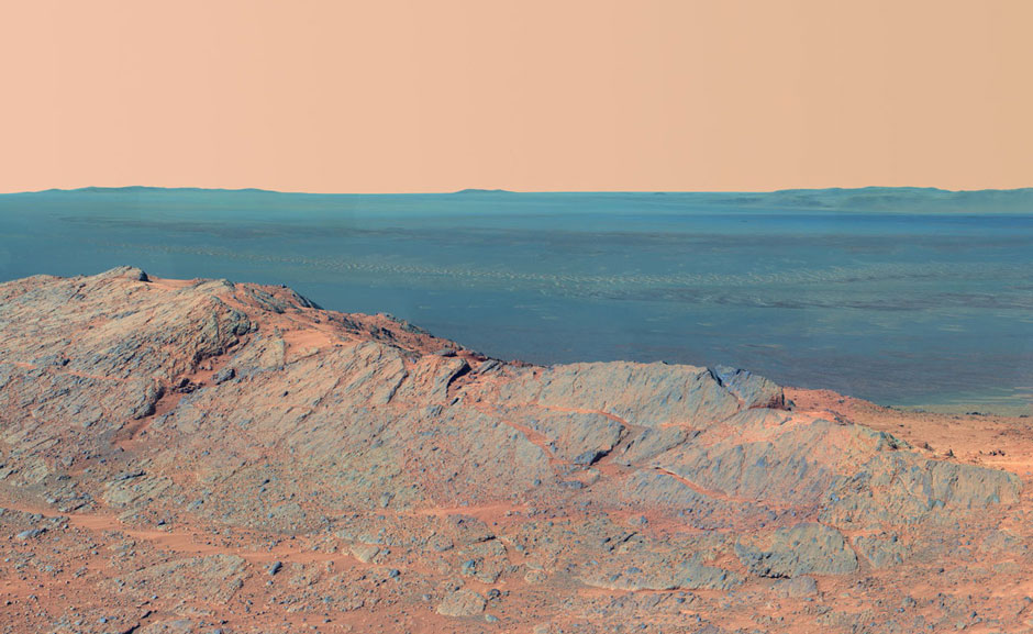 Pillinger Point, on the western rim of Endeavour Crater, Mars, May 14, 2014; detail from a panoramic photograph taken by NASA's Opportunity rover