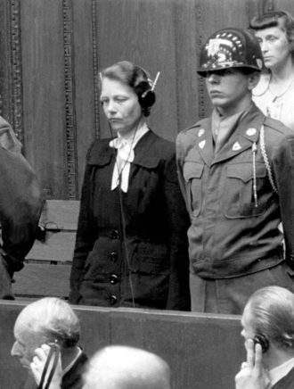Dr. Herta Oberheuser, whose war crimes included conducting medical experiments on concentration camp prisoners, being sentenced to twenty years in prison at the Nazi Doctors' Trial, Nuremberg, August 1947