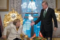 German Chancellor Angela Merkel and Turkish President Recep Tayyip Erdoğan at the Yıldız Palace, Istanbul, October 2015
