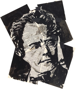 Gustav Mahler, drawn by William Kentridge as Count Casti-Piani for his production of Alban Berg's opera Lulu, 2013. It is on view in Kentridge's exhibition 'Drawings for Lulu,' at the Marian Goodman Gallery, New York City, until December 19, and collected in his limited-edition book <i>The Lulu Plays</i>, just published by Arion Press.