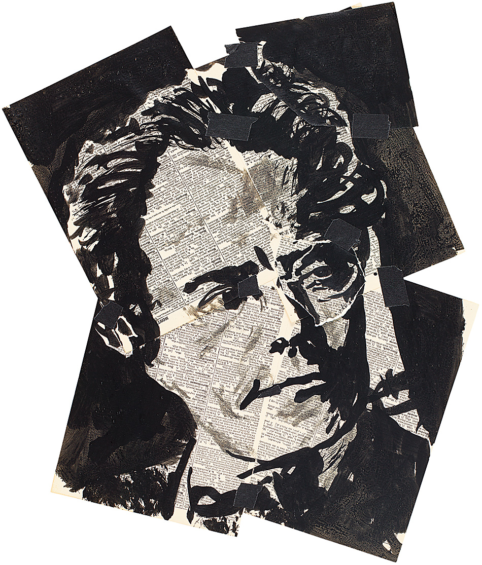 Gustav Mahler, drawn by William Kentridge as Count Casti-Piani for his production of Alban Berg's opera Lulu, 2013. It is on view in Kentridge's exhibition 'Drawings for Lulu,' at the Marian Goodman Gallery, New York City, until December 19, and collected in his limited-edition book The Lulu Plays, just published by Arion Press.