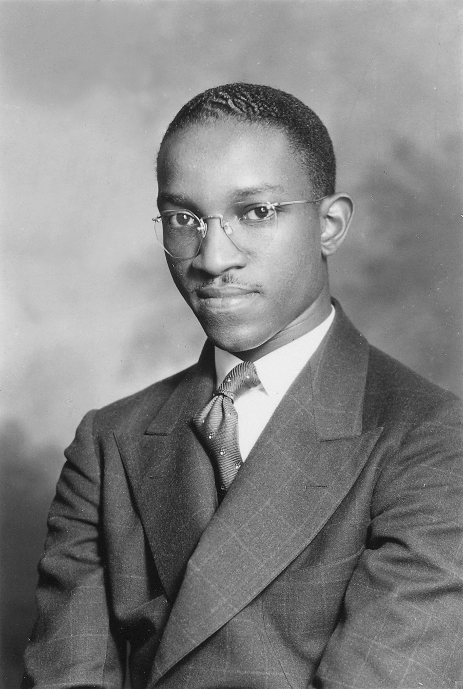 A photograph of John Hope Franklin from his Harvard University admissions file, circa 1935
