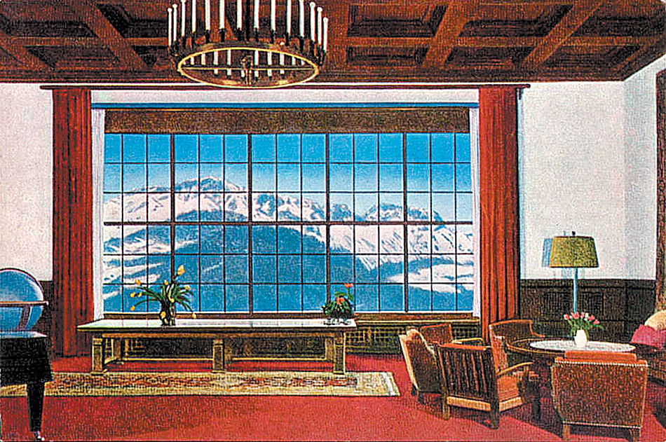 A postcard of the Great Hall of the Berghof, Adolf Hitler's Alpine retreat near Berchtesgaden, Bavaria, circa 1936