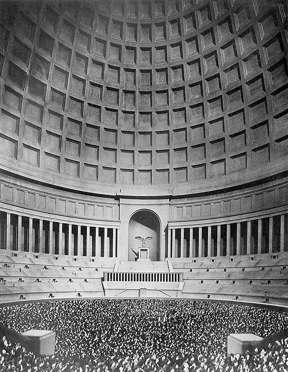 Albert Speer's plan for the interior of the Great Hall of the People, Berlin. It would have been the world's largest domed structure, holding 180,000 spectators, but it was never built.