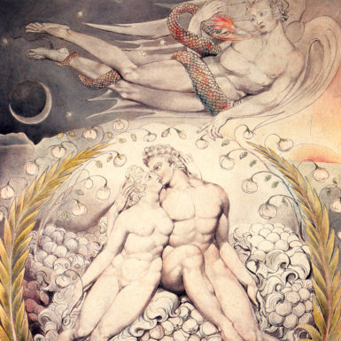 'Satan Watching the Caresses of Adam and Eve'; watercolor by William Blake for John Milton's Paradise Lost, 1808