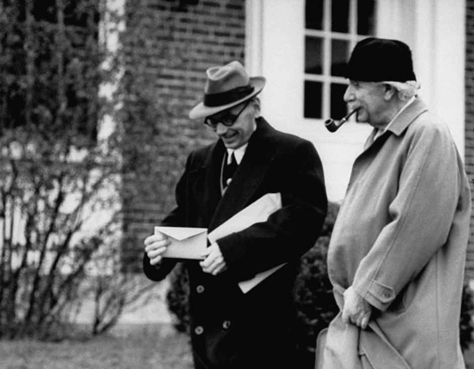 Kurt Gödel and Albert Einstein, Princeton, New Jersey, 1954