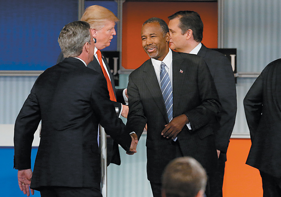 Jeb Bush, Donald Trump, Ben Carson, and Ted Cruz at the Republican presidential debate in Milwaukee, November 2015