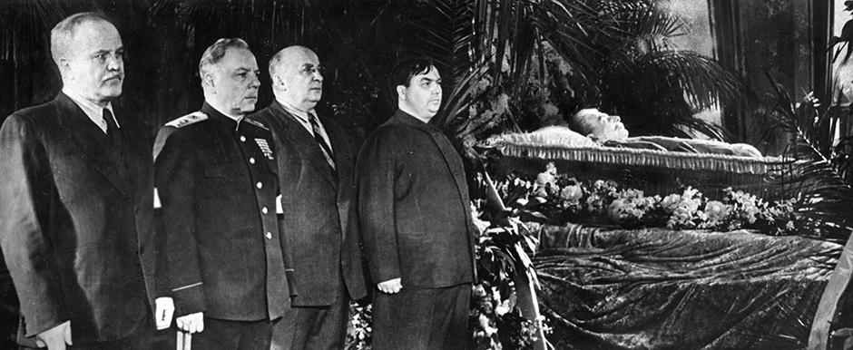 Joseph Stalin lying in state, attended by Vyacheslav Molotov, Kliment Voroshilov, Lavrenty Beria, and Georgii Malenkov, Moscow, March 8, 1953