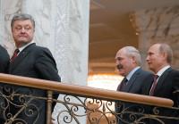 Ukrainian President Petro Poroshenko, left, with Belarusian President Alexander Lukashenko and Russian President Vladimir Putin, Minsk, February 2015