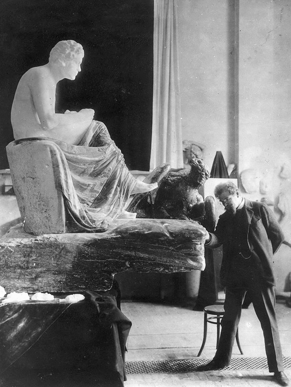 Max Klinger with his statue of Beethoven, Leipzig, circa 1902