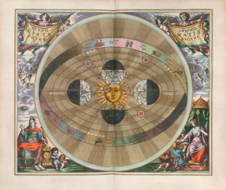 'Scenography of the Copernican World System'; engraving from Andreas Cellarius's Harmonia macrocosmica, 1660