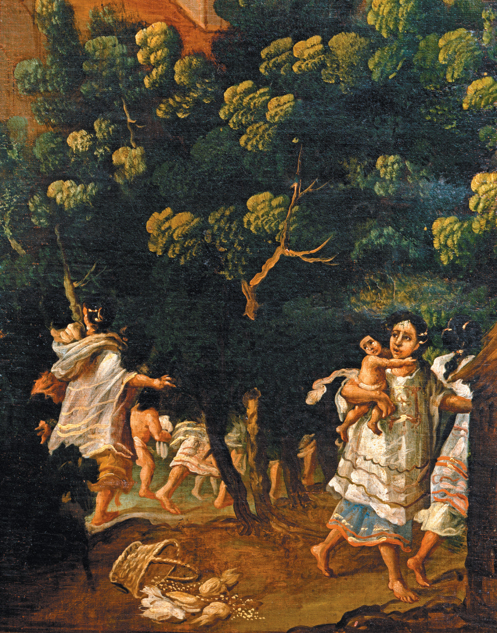 'Aztec women and children fleeing from the Spaniards'; anonymous painting from seventeenth-century colonial Mexico