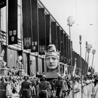 A parade on the first 'Day of German Art,' marking the opening of the first 'Great German Art Exhibition' of works by artists approved by the Nazi regime, Munich, July 18, 1937
