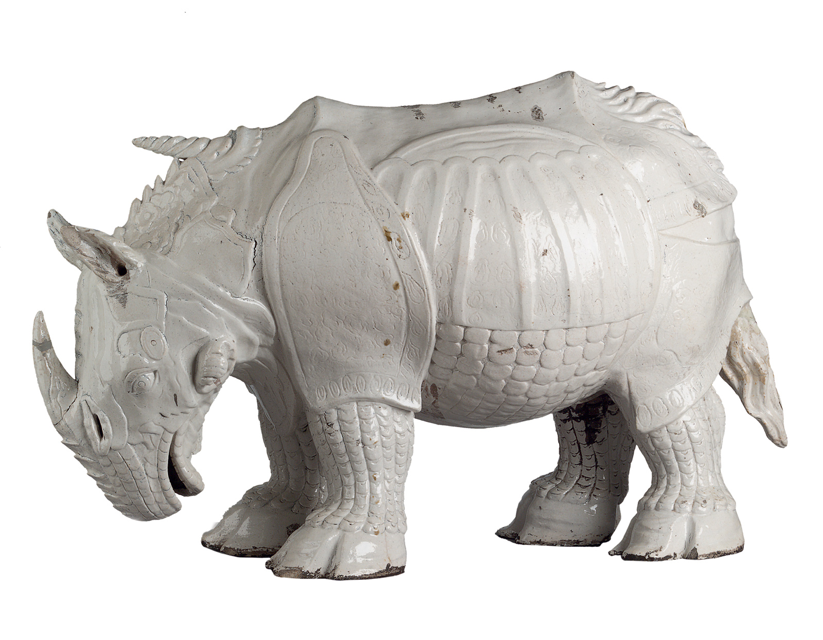 'Rhinoceros'; Meissen porcelain based on a sculpture by Johann Gottlieb Kirchner, 1730; from Neil MacGregor's Germany: Memories of a Nation