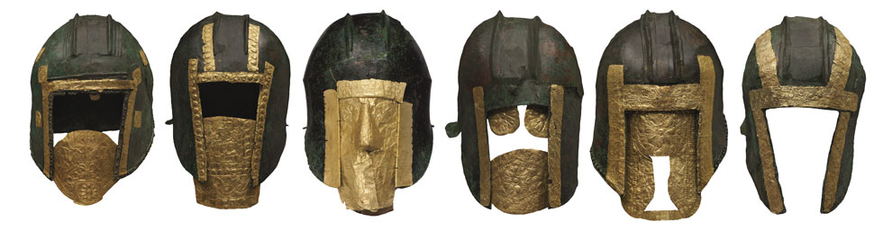 Bronze and gold helmets, Archontiko, after 530 BCE