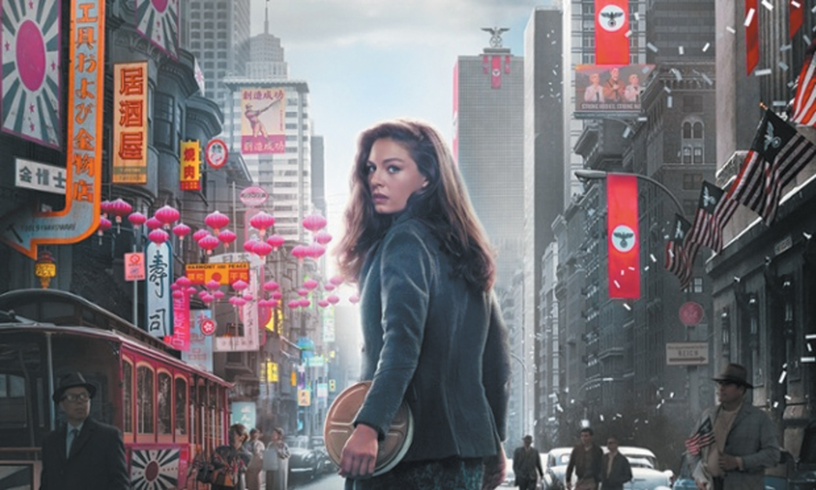 Alexa Davalos as Juliana Crain in a promotional image for The Man in the High Castle; the left side shows Japanese-occupied San Francisco, the right side Nazi-occupied New York