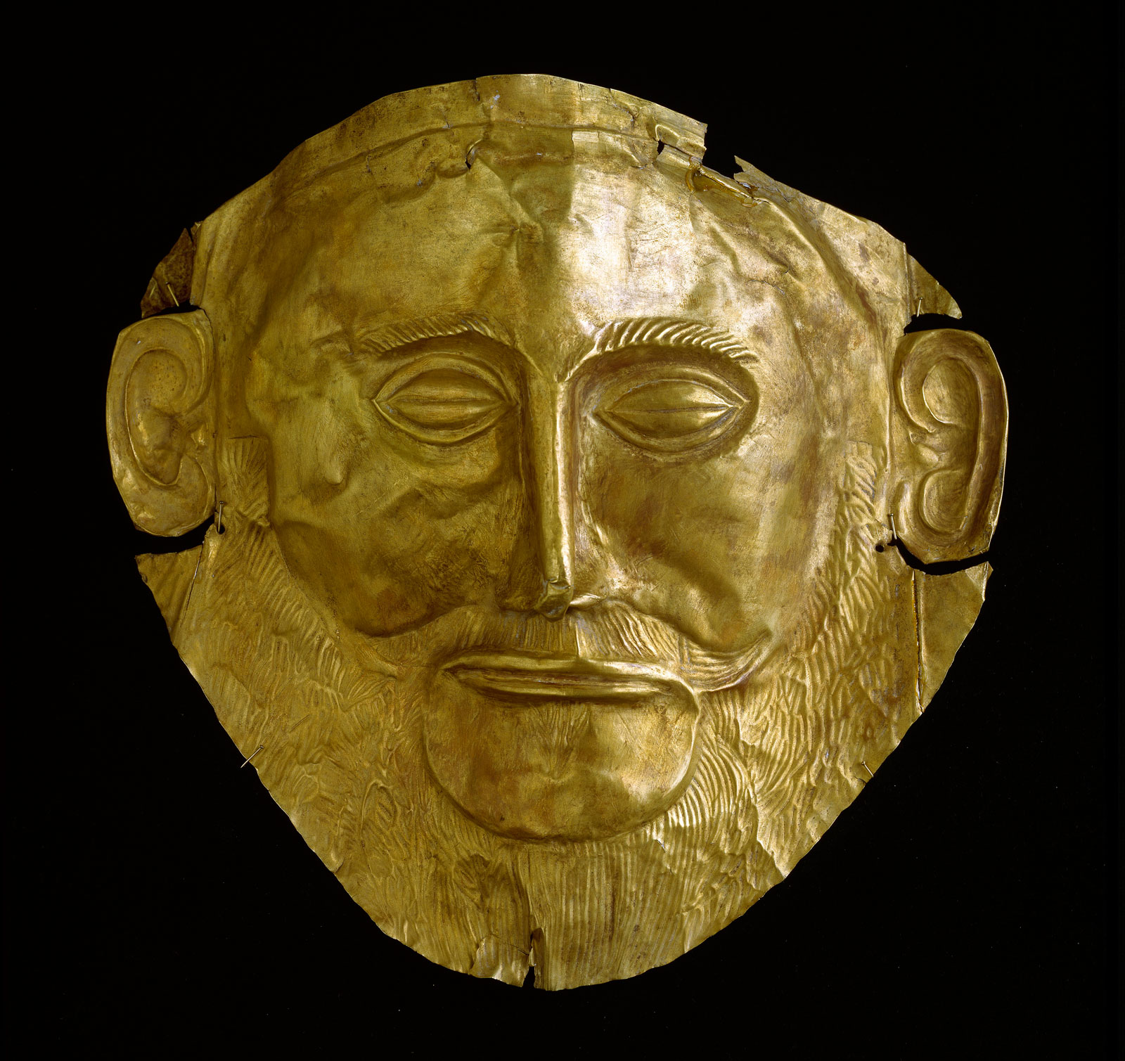 "Gold ""mask of Agamemnon"" from Mycenae, sixteenth century BC"