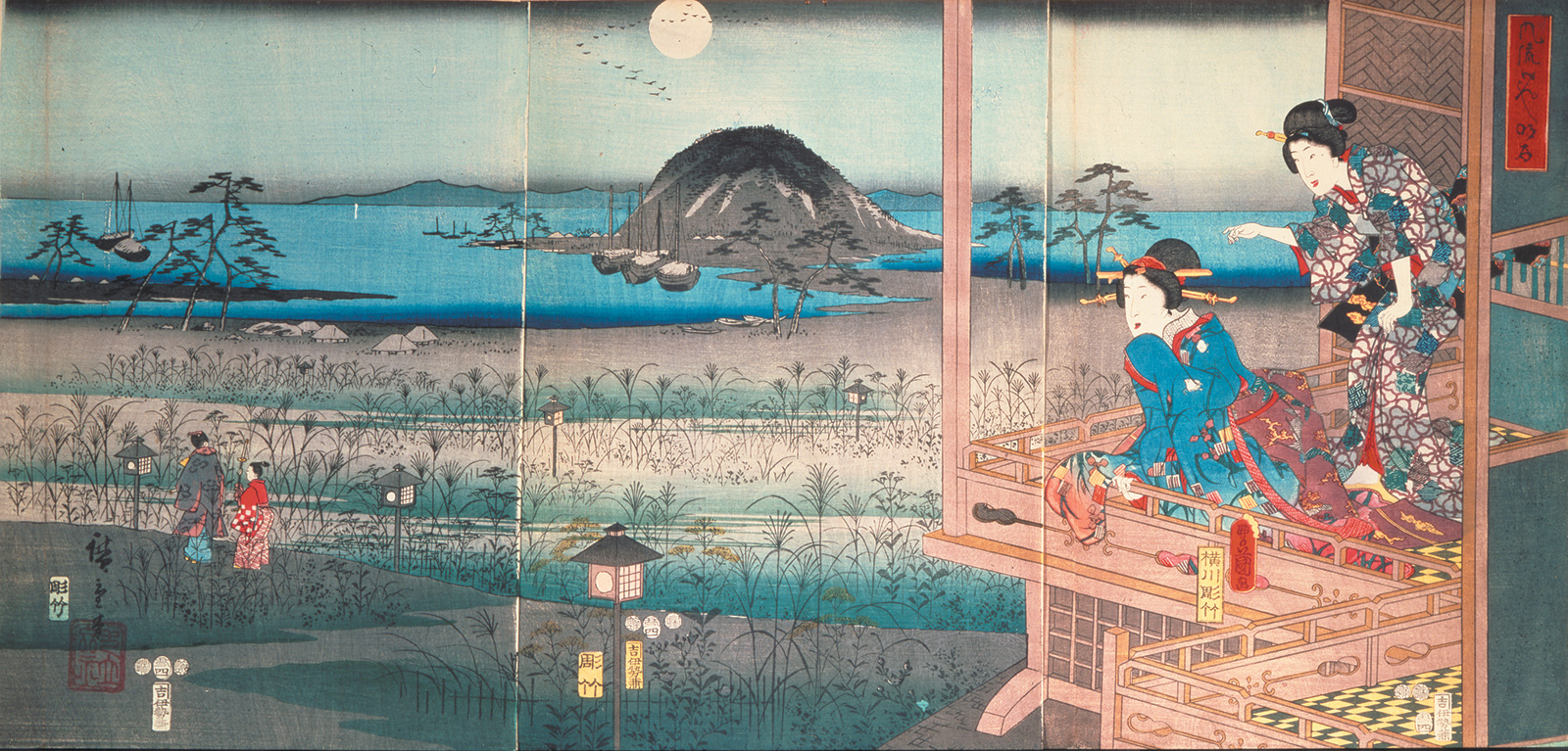 'Lady Fugitsubo watching Prince Genji departing in the moonlight'; Japanese woodblock print of a scene from The Tale of Genji, 1853