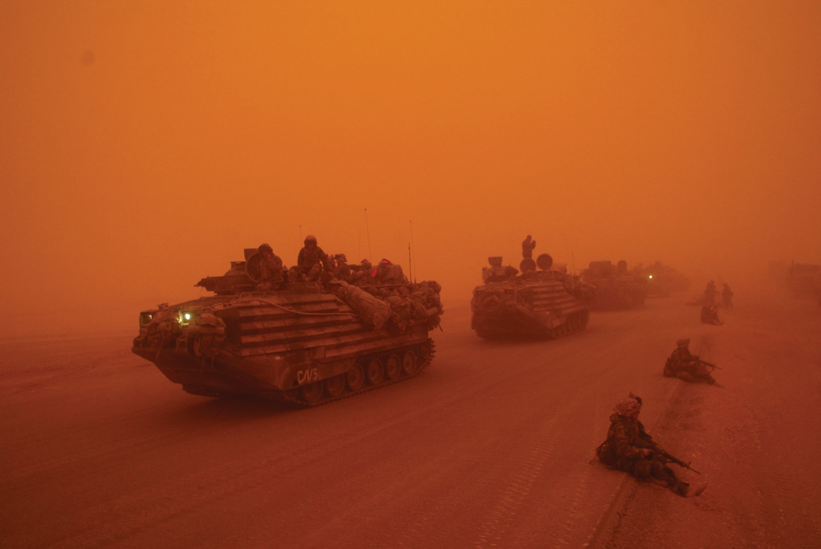A US Marine convey, north of the Euphrates, Iraq; photograph published in The New York Times on March 26, 2003, and included in War is Beautiful