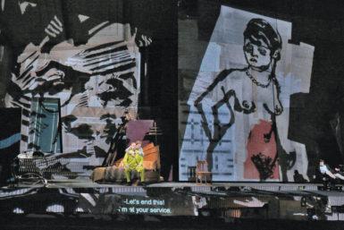 Marlis Petersen as Lulu and Johan Reuter as Dr. Schön in William Kentridge's production of Lulu, 2015