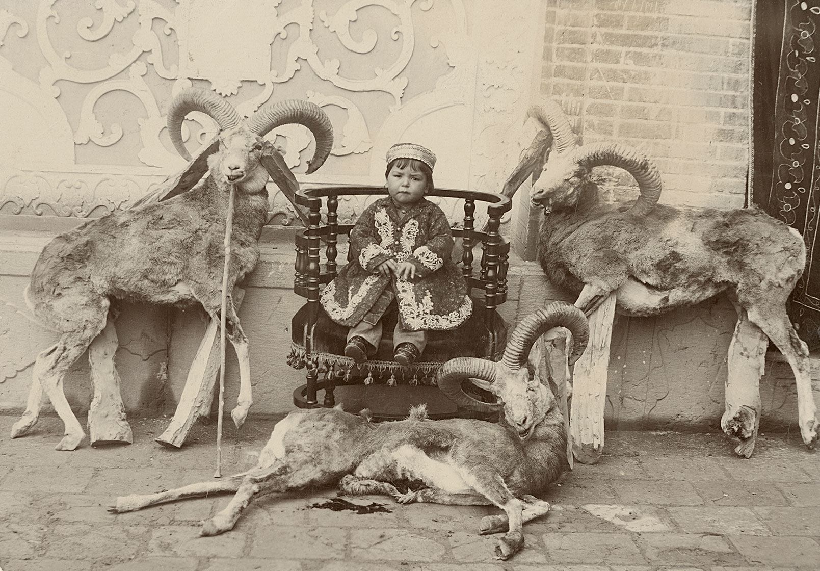 Staged hunting scene with the son of Mass'oud Mirza Zell-e Soltan, taken by an unknown court photographer, circa 1890