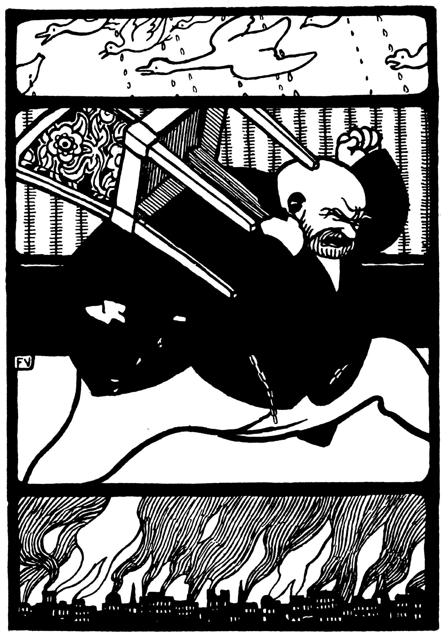 Illustration of Rakkóx by Félix Vallotton from Rakkóx the Billionaire
