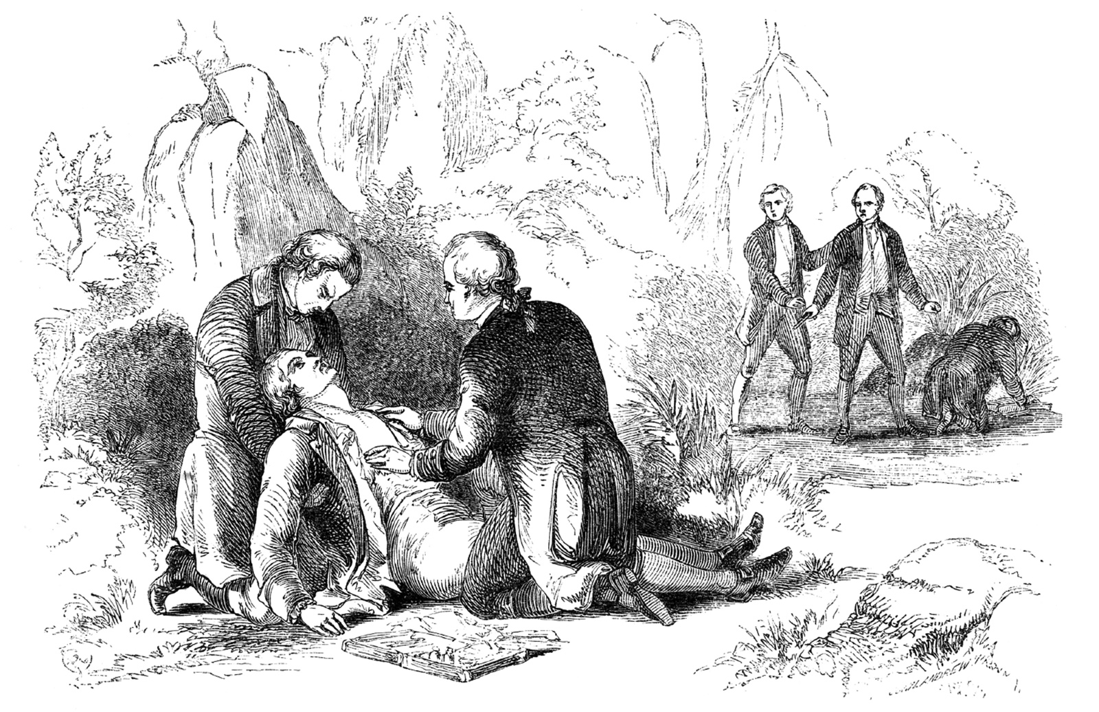 'The death of Alexander Hamilton after his duel with Aaron Burr'; nineteenth-century engraving