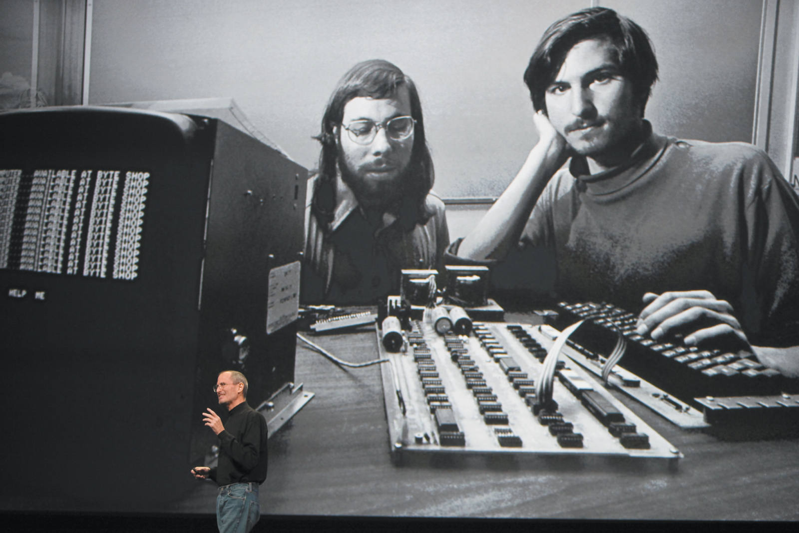 Steve Jobs speaking at a conference in San Francisco in front of a photograph of himself and Apple cofounder Steve Wozniak, 2010