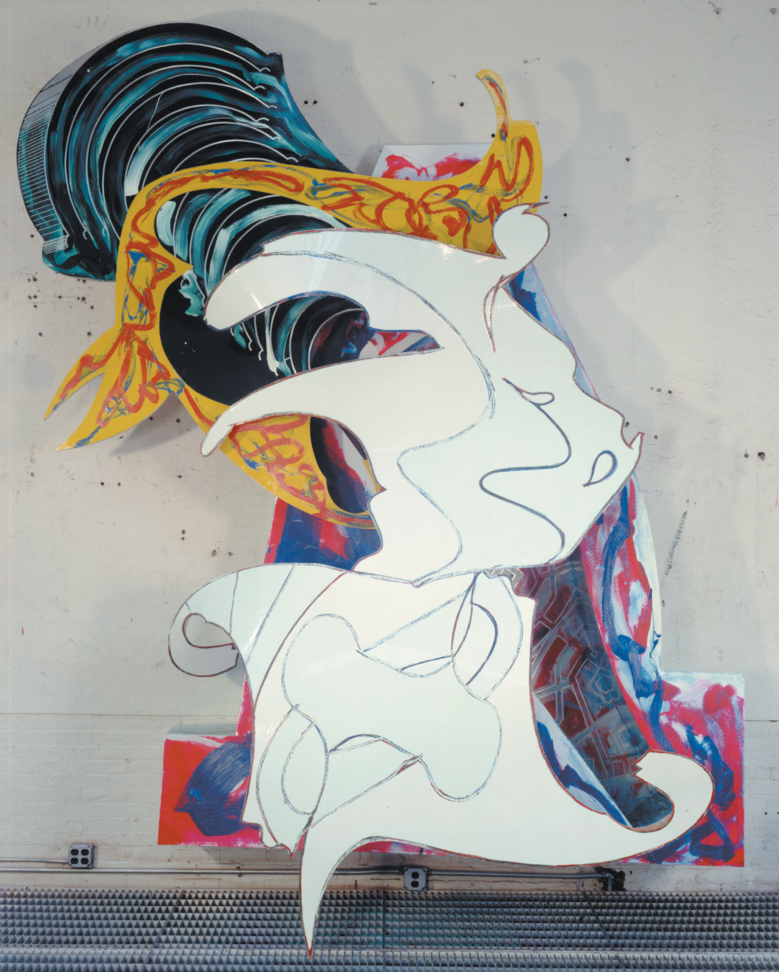Frank Stella: The Whiteness of the Whale (IRS-1, 2X), paint on aluminum, 149 x 121 3/4 x 45 1/4 inches, 1987