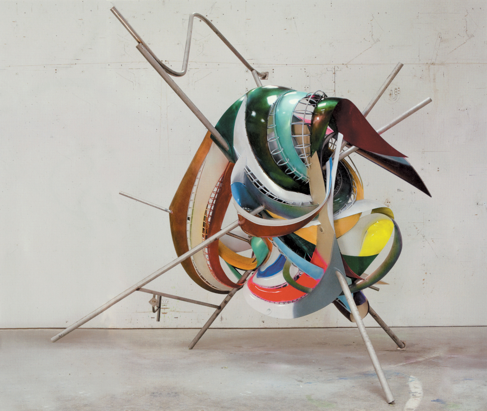Frank Stella: K.81 combo (K.37 and K.43) large size, Protogen RPT with stainless steel tubing, 180 x 192 x 120 inches, 2009