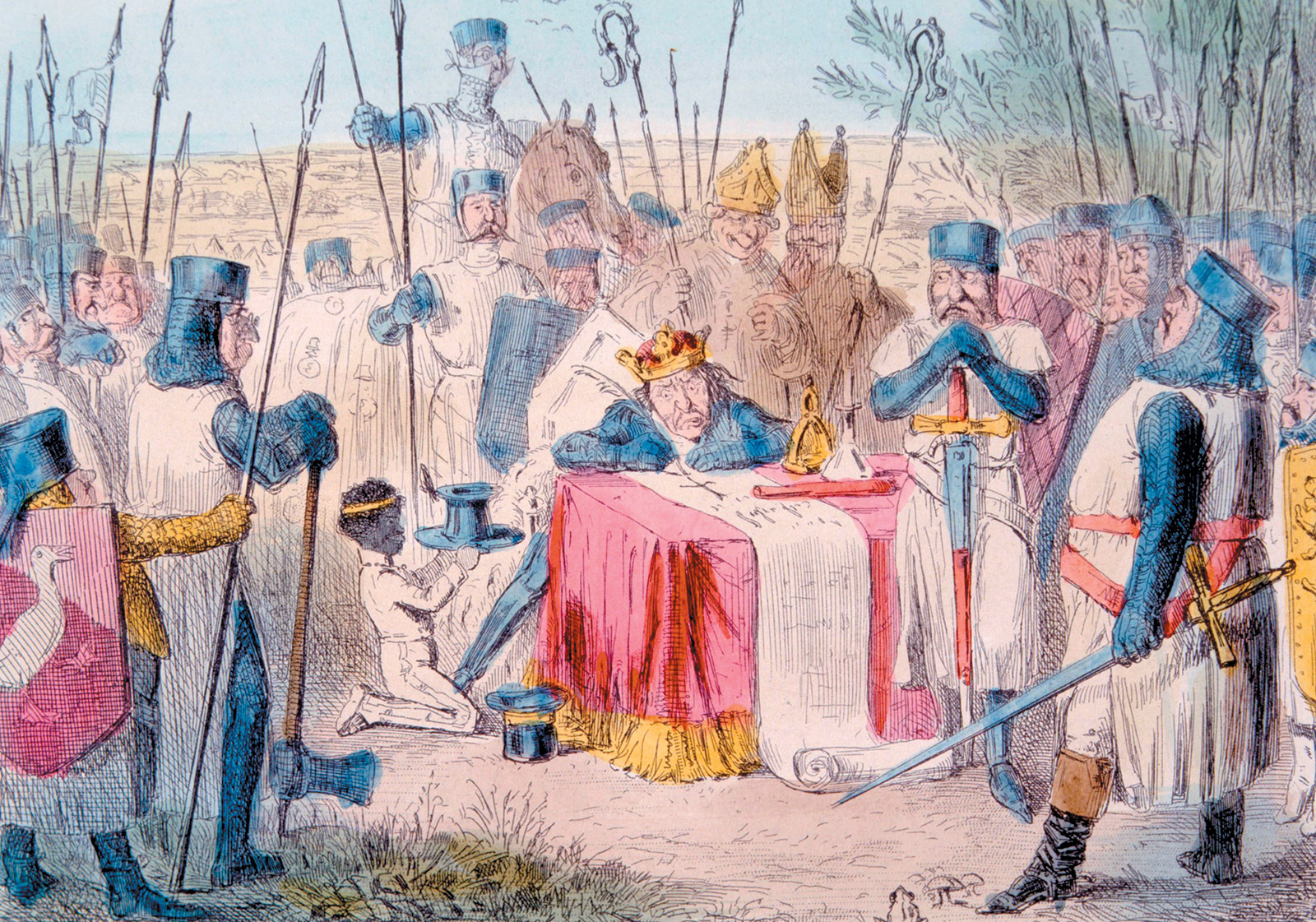 King John of England approving the Magna Carta in 1215; illustration by John Leech, 1875