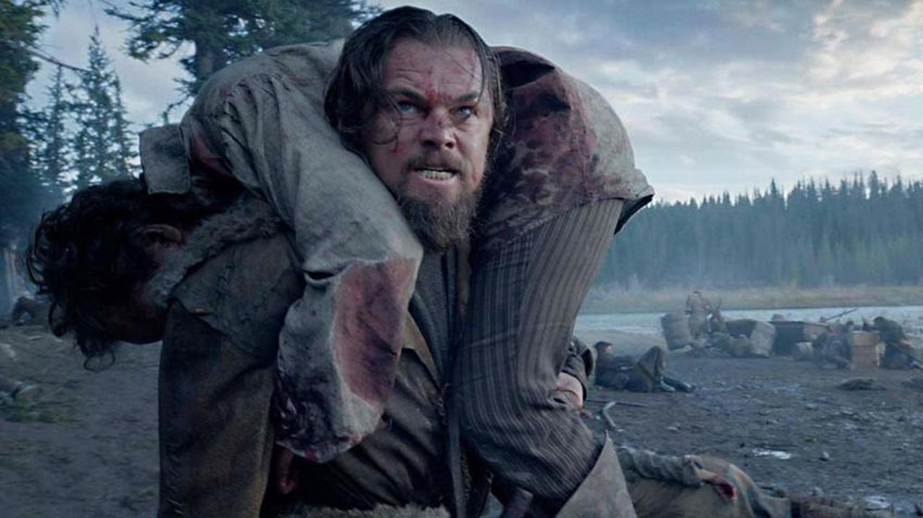 Leonardo DiCaprio as Hugh Glass in Alejandro González Iñárritu's The Revenant, 2015