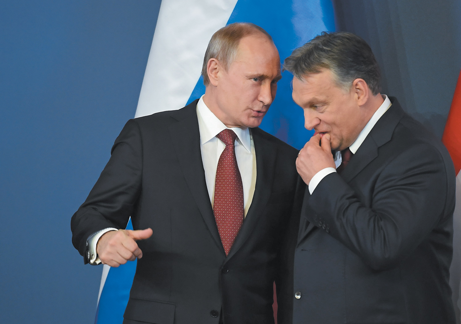 Vladimir Putin and Viktor Orbán at a press conference in Budapest, February 2015