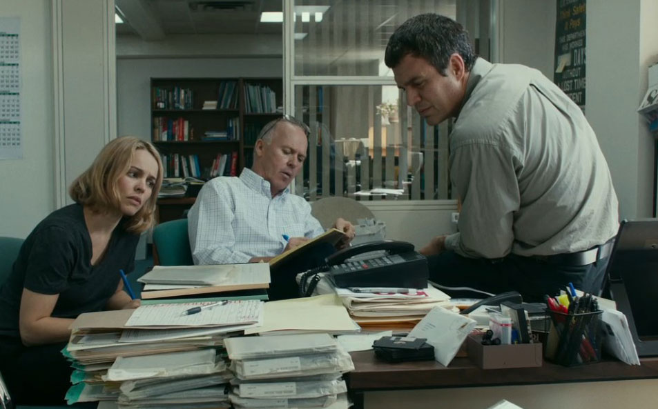 Rachel McAdams as Sacha Pfeiffer, Michael Keaton as Walter 'Robby' Robinson and Mark Ruffalo as Mike Rezendes in Tom McCarthy's Spotlight, 2015