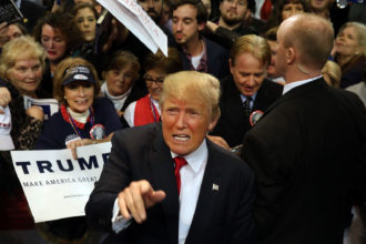 Donald Trump with supporters in Biloxi, Mississippi, January 2, 2016