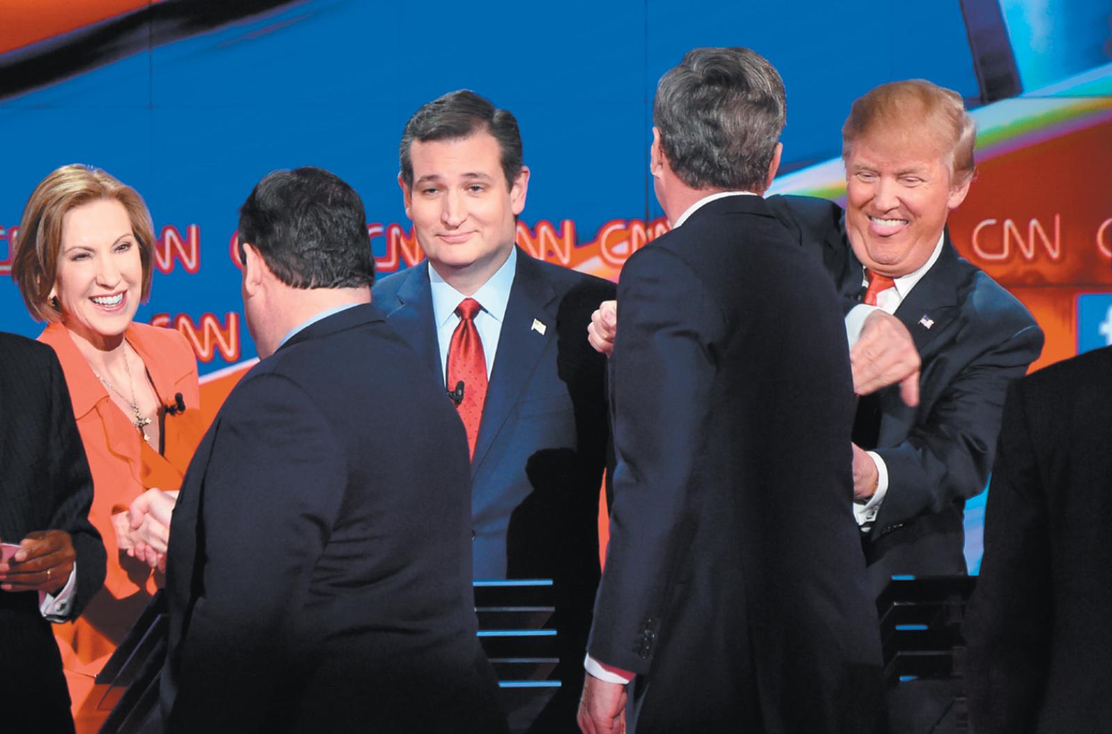 Carly Fiorina, Chris Christie, Ted Cruz, Jeb Bush, and Donald Trump at the Republican presidential debate in Las Vegas, December 2015