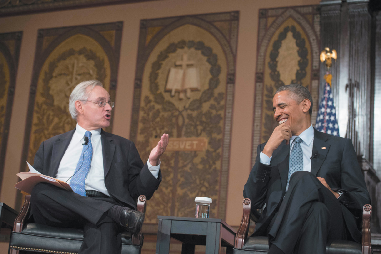 E. J. Dionne with President Obama at the Catholic-Evangelical leadership summit on overcoming poverty, Georgetown University, Washington, D.C., May 2015