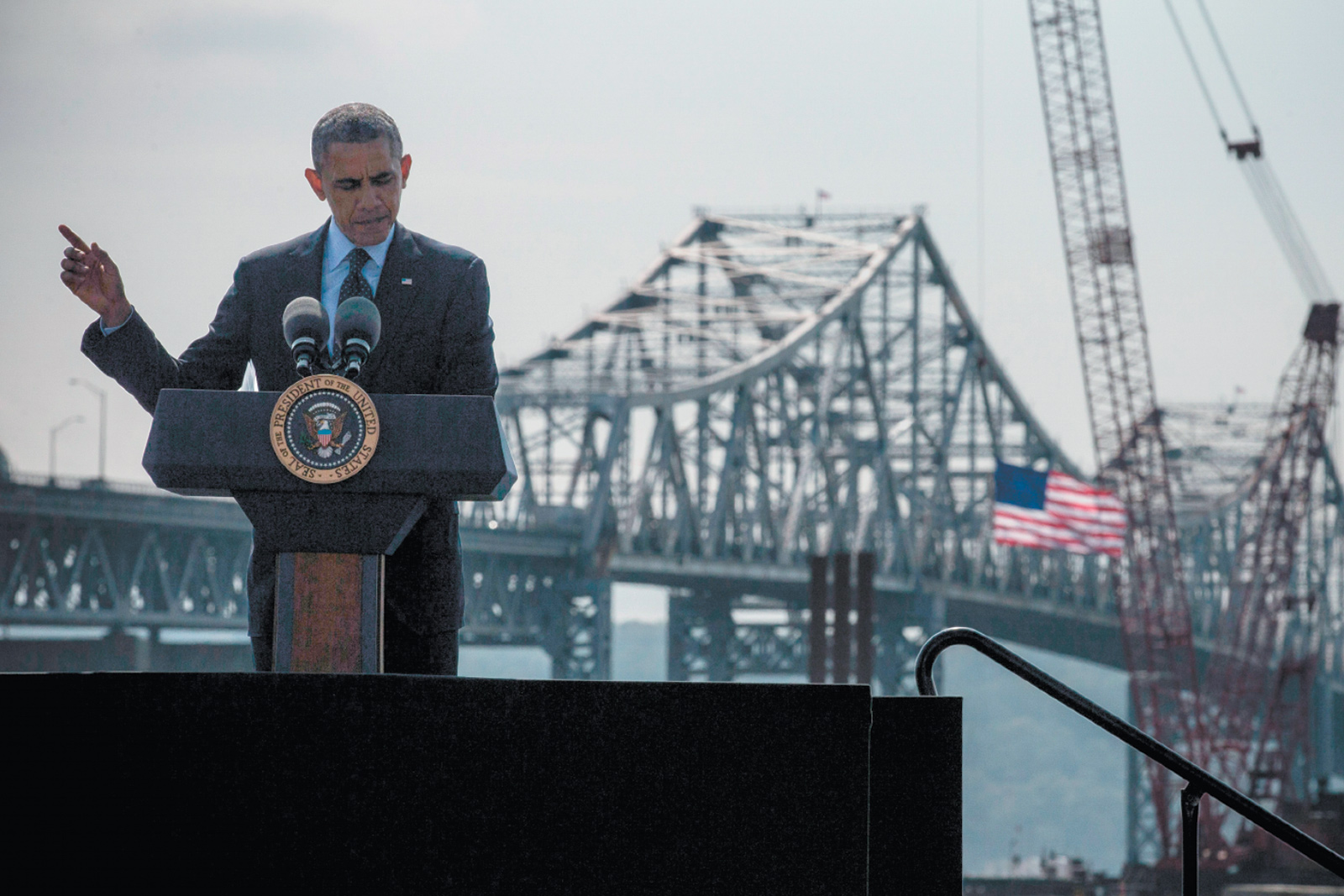President Obama delivering remarks on infrastructure in the United States near the Tappan Zee Bridge and the construction of its replacement, Tarrytown, New York, May 2014