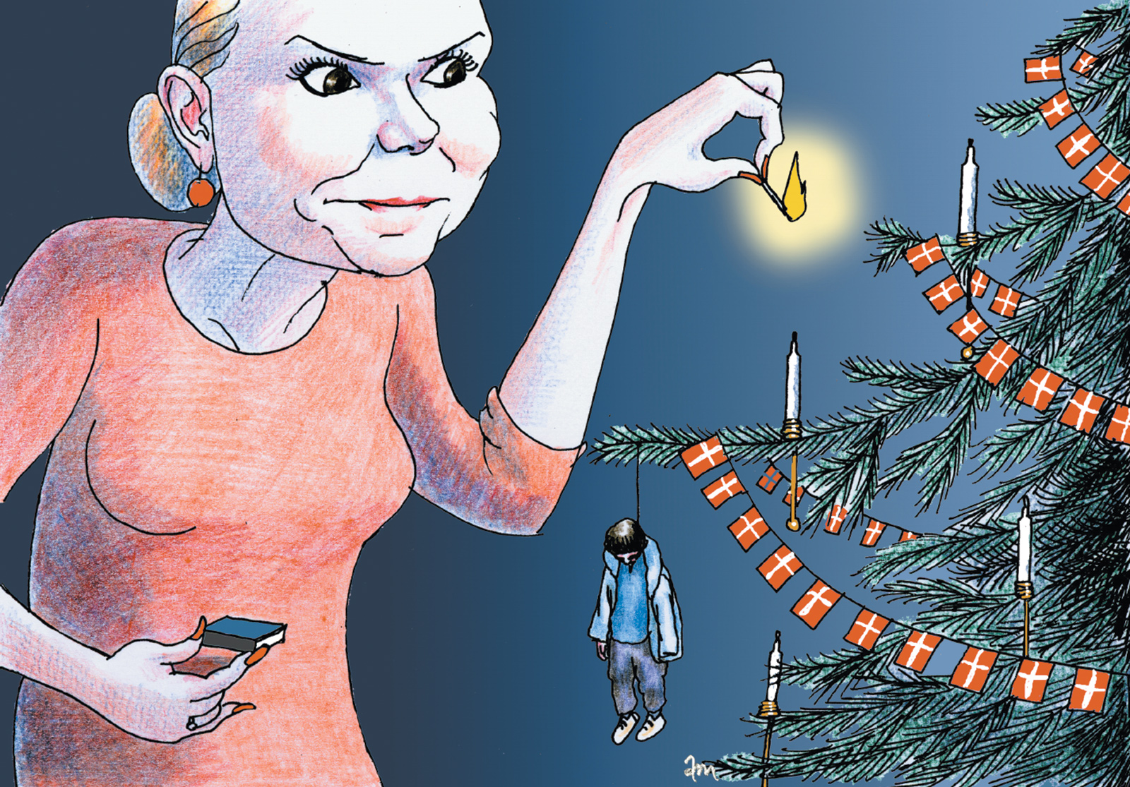 A cartoon published by the Danish newspaper Politiken showing Inger Støjberg, the country's integration minister, lighting candles on a Christmas tree that has a dead asylum-seeker as an ornament, December 2015